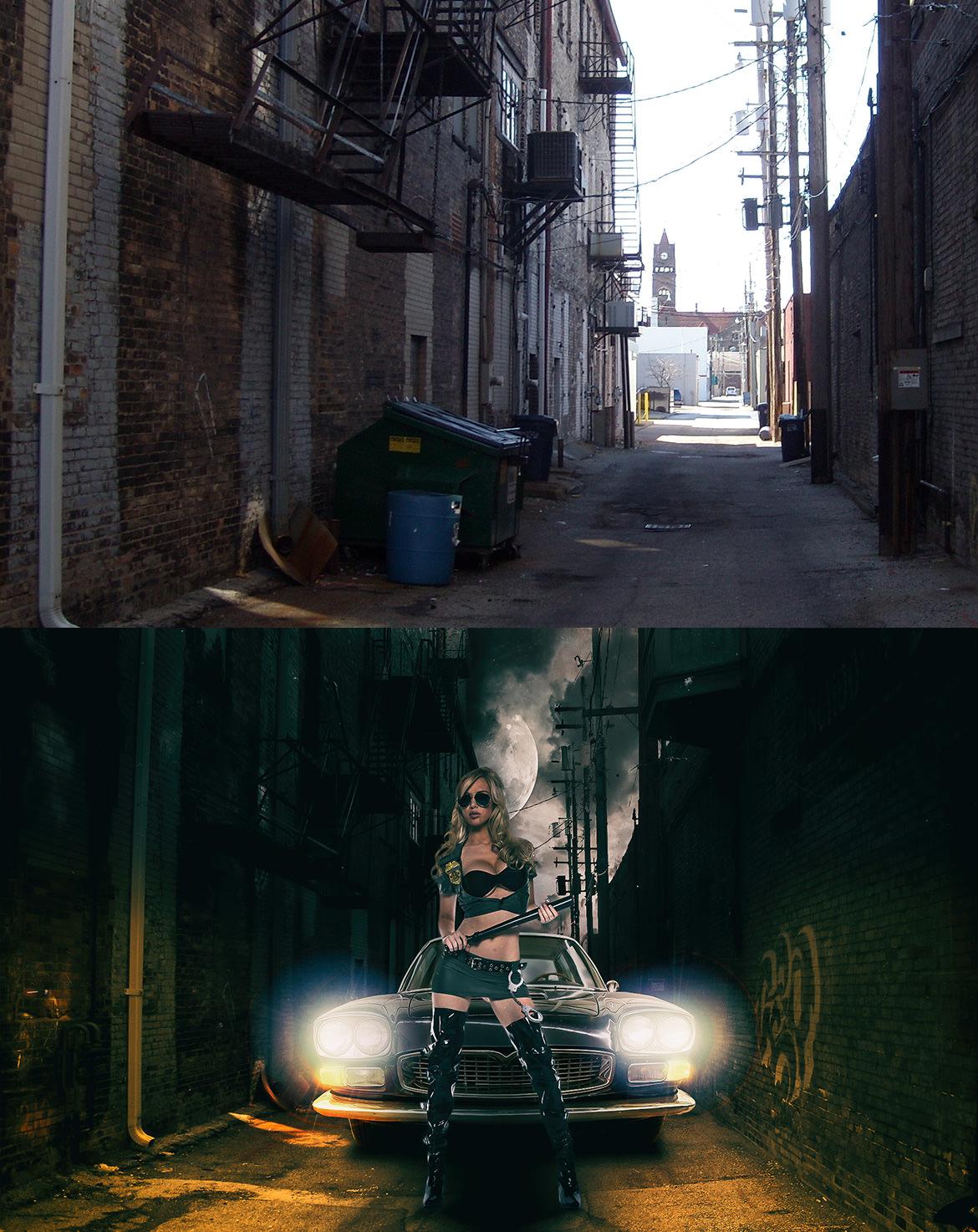 画像合成 - 路地裏の女性