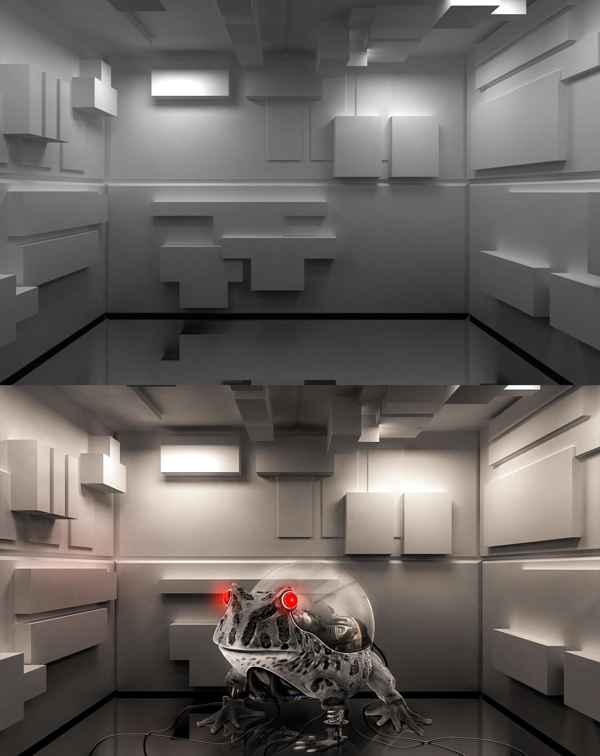 画像合成 - 機械のカエル
